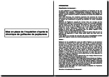 Mise en place de l'inquisition d'après la chronique de Guillaume de Puylaurens