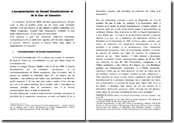 L'européanisation du Conseil Constitutionnel et de la Cour de Cassation