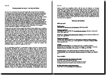 Commentaire de texte : les lois de Solon d'après Plutarque