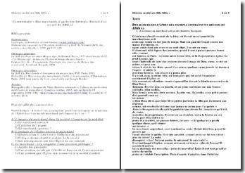 Commentaire « Des marchands d'après des Exempla (Extrait d'un recueil du XIIIe s)