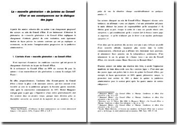 La « nouvelle génération » de juristes au Conseil d'Etat et ses conséquences sur le dialogue des juges