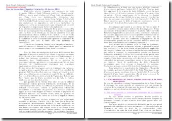 Commentaire d'arrêt Cour de Cassation Chambre Criminelle 12 Janvier 2010
