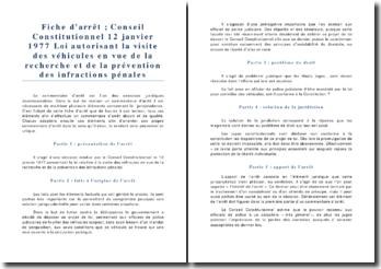 Conseil Constitutionnel 12 janvier 1977 Loi autorisant la visite des véhicules en vue de la recherche et de la prévention des infractions pénales
