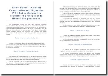 Conseil Constitutionnel 20 janvier 1981 Loi renforçant la sécurité et protégeant la liberté des personnes
