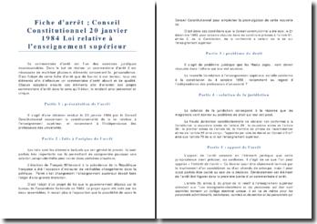 Conseil Constitutionnel 20 janvier 1984 Loi relative à l'enseignement supérieur
