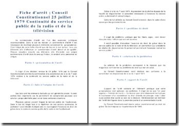 Conseil Constitutionnel 25 juillet 1979 Continuité du service public de la radio et de la télévision