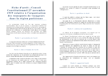 Conseil Constitutionnel 27 novembre 1959 Organisation des transports de voyageurs dans la région parisienne