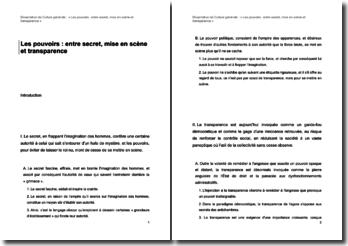 'Les pouvoirs : entre secret, mise en scène et transparence' - Dissertation de culture générale