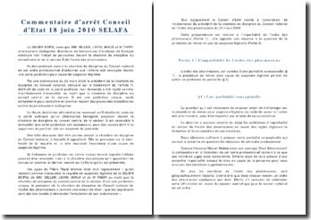 Conseil d'Etat 18 juin 2010 SELAFA