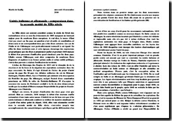 Unités italienne et allemande comparaison dans la seconde moitié du XIX siècle