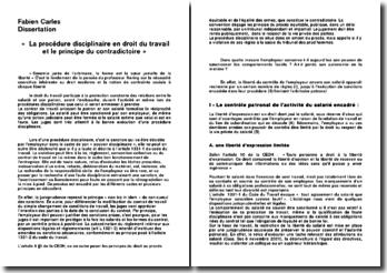 La procédure disciplinaire en droit du travail et le principe du contradictoire