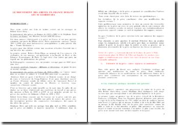 Le mouvement des grèves en France durant les 30 glorieuses
