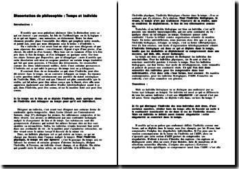 Dissertation: Temps et Individu