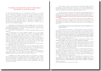 Les limites à la faculté des parties de déterminer librement le contenu du contrat.