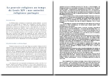 Le pouvoir religieux au temps de Louis XIV : une autorité religieuse partagée