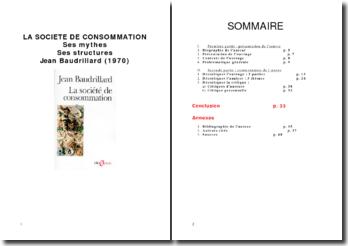 EXPOSE JEAN BAUDRILLARD LA SOCIETE DE CONSOMMATION