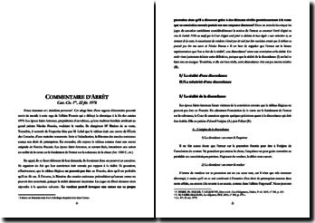 COMMENTAIRE D'ARRÊT Cass. Civ. 1ère, 22 fév. 1978