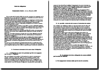 commentaire d'arret : droit des contrat civ.1ere 30octobre 2008