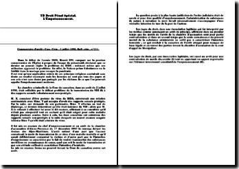 Commentaire de l'arrêt : Cass. Crim., 2 juillet 1998, Bull. n 211