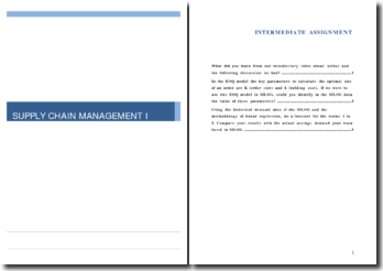 Supply Chain Management I