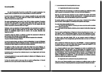 Civil 1re 31 mai 2007 : reconnaissance fausseté partielle de la cause / conséquences différentes selon le contrat