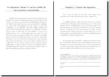 Règlement ROME I sur les conflits de loi en matière contractuelle