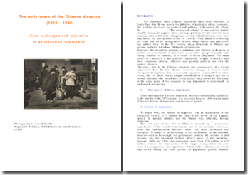 The early years of the Chinese diaspora (1840 - 1945): From a disorganized migration to an organized community