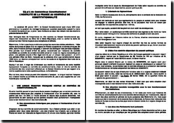 L'hostilité française au contrôle de constitutionnalité