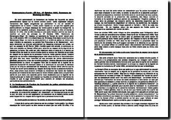 commentaire d'arrêt, CE Ass.; 27 Octobre 1995: Commune de Morsang-sur-Orge