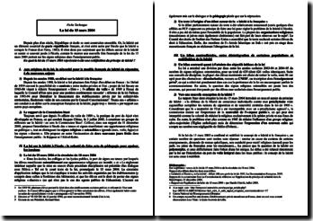 La loi du 15 mars 2004 sur les signes religieux à l'école, ou la redéfinition du principe de laïcité