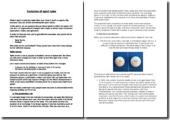 Evolution of sport rules