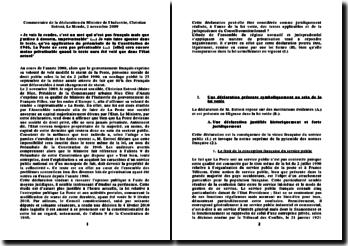 Déclaration du Ministre de l'Industrie, Christian Estrosi, Le Monde, 2 novembre 2009