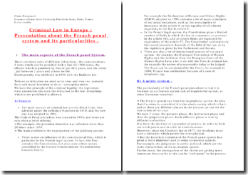The French Criminal system and its paticularities