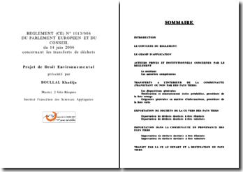 REGLEMENT (CE) N 1013/006 du 14 juin 2006 concernant les transferts de déchets