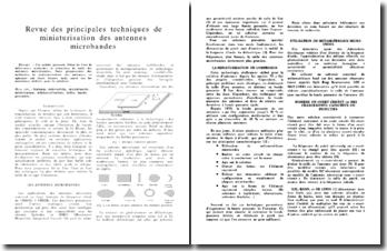 Article de recherche - Revue des principales techniques de miniaturisation des antennes microbandes