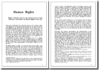 Critically appraise the implementation of the European Convention on Human Rights in the UK.