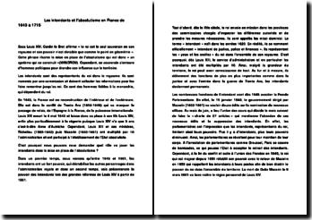 les intendants et l'absolutisme en France de 1643 à 1715