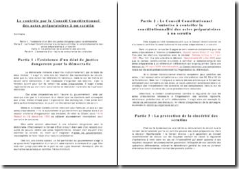 Le contrôle du Conseil constitutionnel sur les actes préparatoires à un scrutin électoral