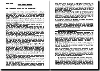 Commentaire d'arrêt Cour de Cassation Chambre Criminelle du 16 janvier 1986