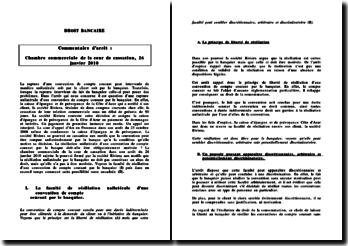 Cass. Com. 26 janvier 2010 - La rupture unilatérale d'une convention de compte courant par le banquier