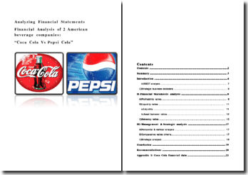 Financial Analysis of 2 American beverage companies: Coca Cola Vs Pepsi Cola