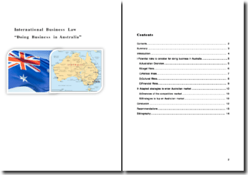 International Business Law : Doing Business in Australia