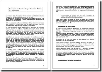 Commentaire d'arrêt : Assemblée Plénière, 6 octobre 2006