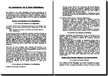 Les institutions de la Ve République - Représentants, Conseils et Assemblées