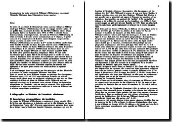 Commentaire d'un extrait de Wilbrand d'Oldenbourg sur sa visite en Arménie Cilicienne au XIIIe