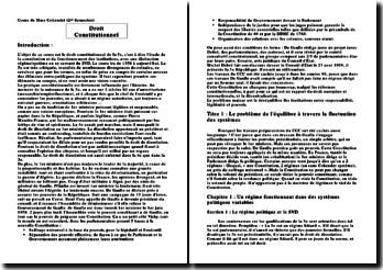 Le droit constitutionnel de la 5ème République