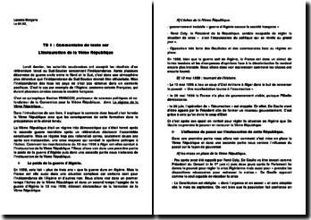 Commentaire de texte sur l'instauration de la 5ème République.