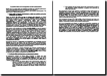 Le contrôle interne de la transposition du droit communautaire