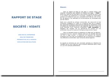 Rapport de stage 3ème année cycle INGENIEUR analyse financiere
