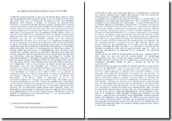 Les rapports entre exécutif et législatif entre 1870 et 1958